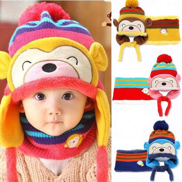 Bebé sombrero invierno Niños Niñas niño sombreros y bufanda mono gorros  bebe invierno Beanie niños casquillo 57e014e39c0