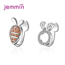 Korean Style 925 Sterling Silver Asymmetrical Concise Rabbit Carrot Ear Clip Cute Student CZ Cubic Zircon Earrings