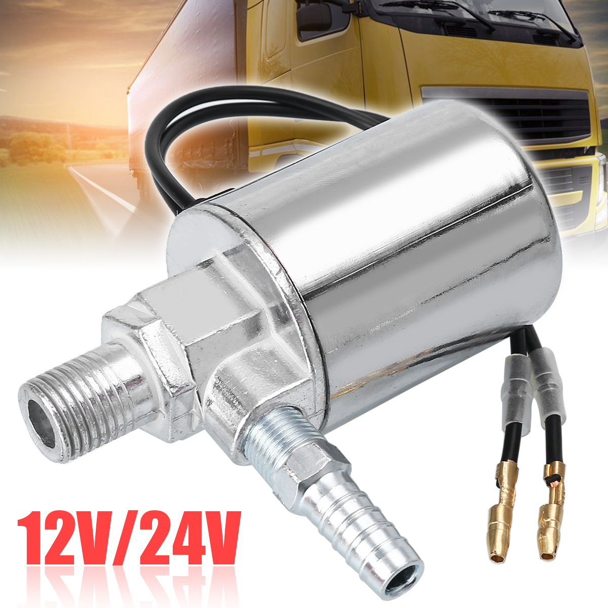 Mayitr 12V 24V Electric Solenoid Valve Air Horns & Air Ride Systems 1/4inch Metal Train Truck Air Horn Solenoid Valve