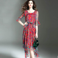 2018 NEW Silk Dresses Women Summer TOP Quality Floral Print Red Flare Sleeve Beach dress Long Holiday Wear Girl Free Shipping