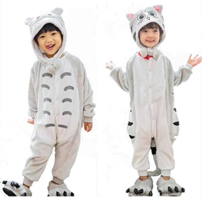 My Neighbor Cat Onesie Pajamas Anime Cheese Cat Kid Cosplay Costumes Grey Cat Jumpsuit Pyjamas Children baby Sleepwear Homewear