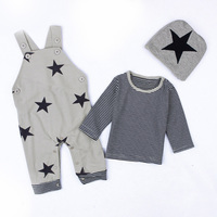 Autumn Baby Rompers Newborn 3pieces/set Star T shirt Pants and Hat Baby Clothes Set Bebes Kids Tracksuit Outfits Boy Girl Romper