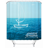 Hot Sell 3D Sailing Printing Summer Dreams Shower Curtain Polyester Waterproof Mould Proof Beautiful Blue Bath Curtain 72x72
