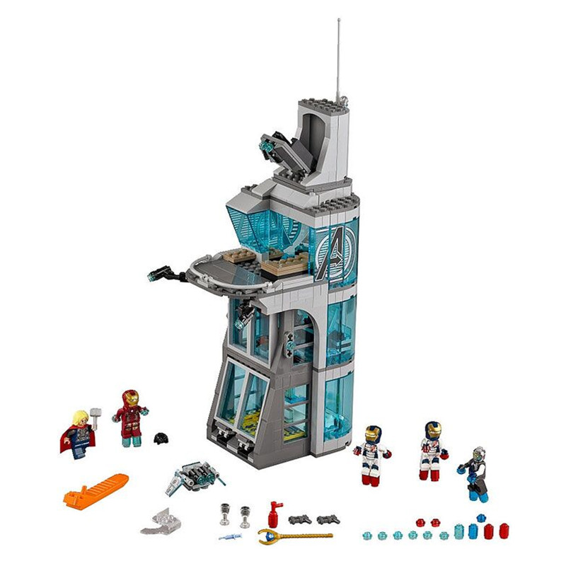 ФОТО lepin sy attack on avenger tower lron man thor super hero building blocks toys for children super heroes bricks minifigure toy