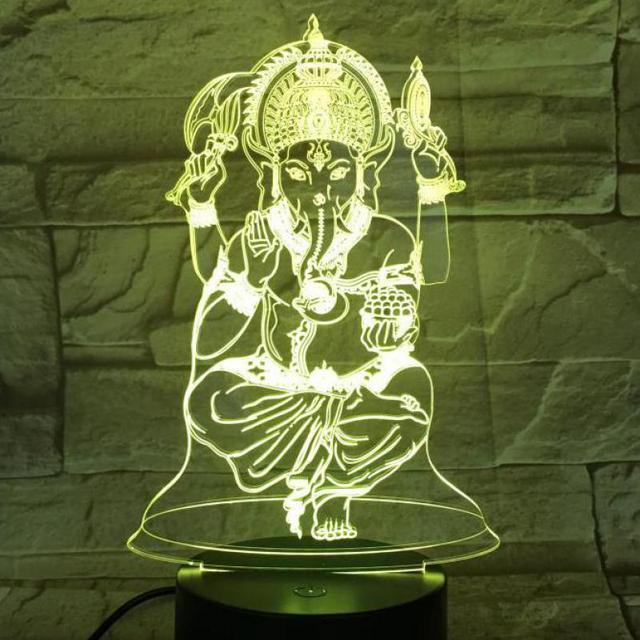 USB 3d Led lampka nocna Ganesa rysunek wizualny buddyzm Gaapati dekoracyjne światła mama prezent dla mamy słoń biurko lampa sypialnia Neon