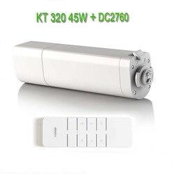 Eruiklink Dooya التلقائي الكهربائية محرك الستائر KT320E/45 واط ، محرك إلكتروني دويا DC2760 2 قناة باعث تحكم عن بعد