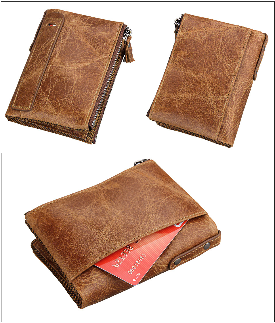 100% Genuine Leather Men Wallet Small Zipper Pocket Men Wallets Portomonee Male Short Coin Purse Brand Perse Carteira For Rfid