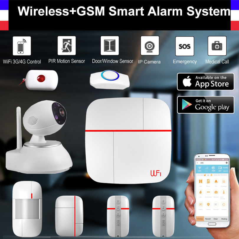 Wireless WiFi + GSM Smart Alarm System PIR Detector Door Sensor HD 720P Wifi IP Camera Home Security Intruder Alarm System wireless smoke fire detector for wireless for touch keypad panel wifi gsm home security burglar voice alarm system