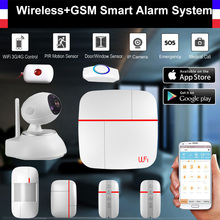 Wireless WiFi + GSM Smart Alarm System PIR Detector Door Sensor HD 720P Wifi IP Camera Home Security Intruder Alarm System