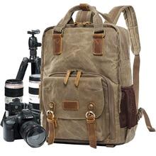 Batik Canvas Digital SLR Photo Backpack Durable Photographer Padded Camera Bag for Cannon/Nikon/Sony DSLR Lens Tripod 15 Laptop