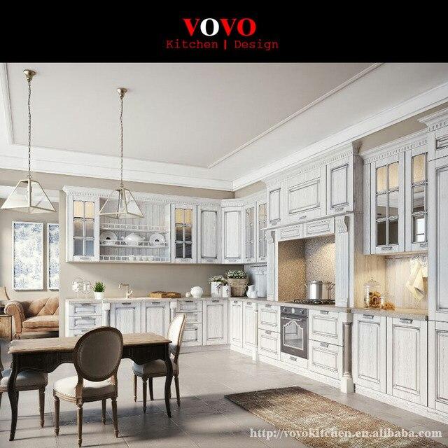 Bianco compensato mobili da cucina modulare con porta in vetro sulla ...