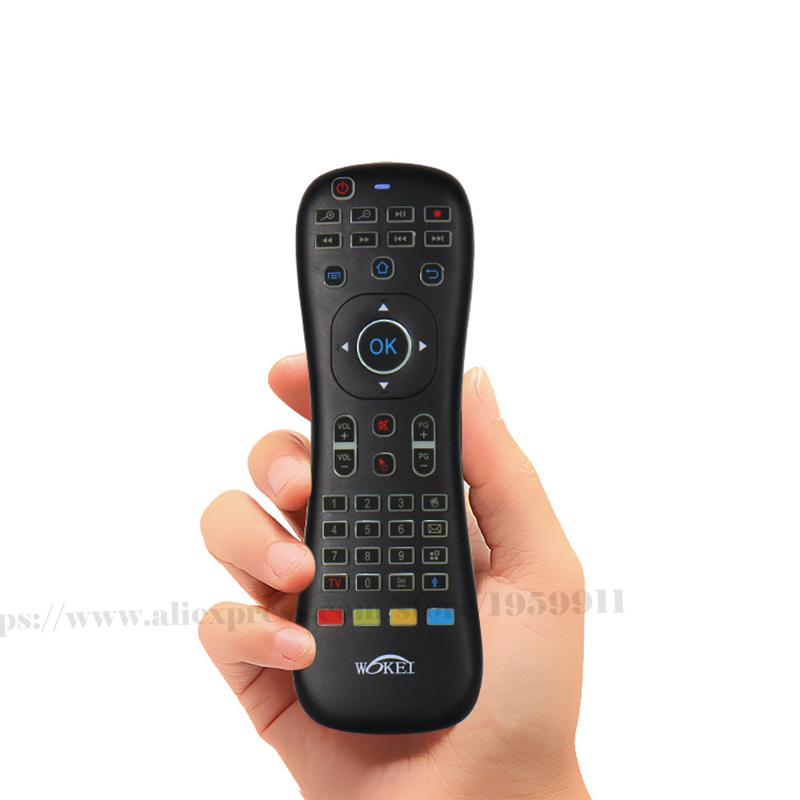 Nuevo Smart Remote Conctol para Android TV caja para ordenador con voz y función retroiluminada teclado del ratón del aire