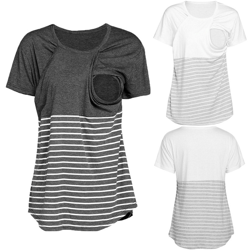 Maternity Clothes Breastfeeding Clothes Summer Maternity Nursing Wrap Top Short Sleeves Stripe Blouse T-Shirt Clothes JE04#F цены онлайн