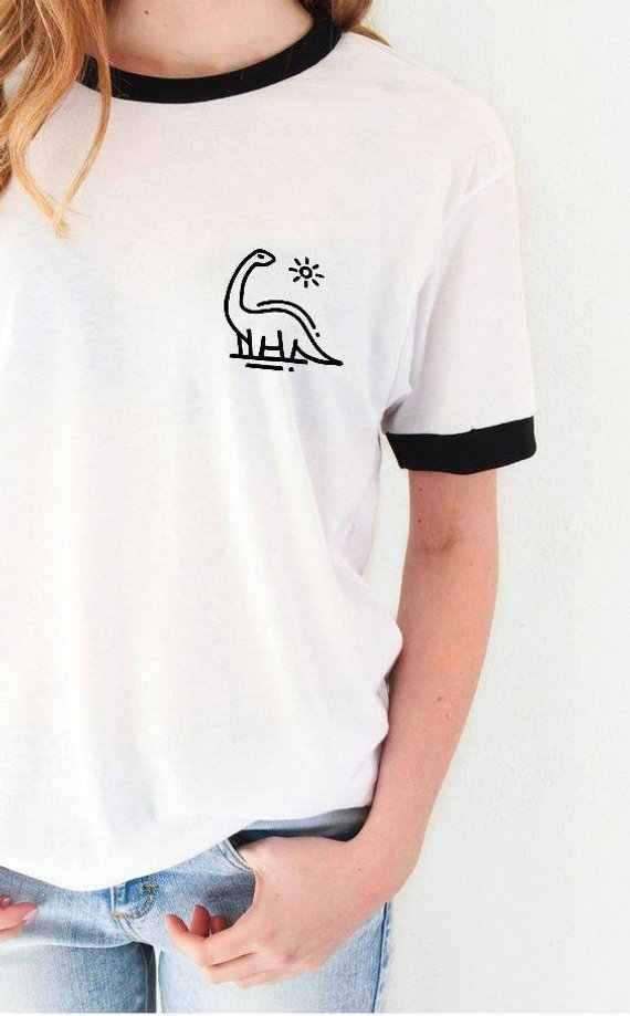 Skuggnas Dinosauro Tee Tasca Della Camicia Camicette Cute Teen Regali Grafici Jurassic Brontosauro Unisex di Modo Tumblr Magliette E Camicette t Shirt