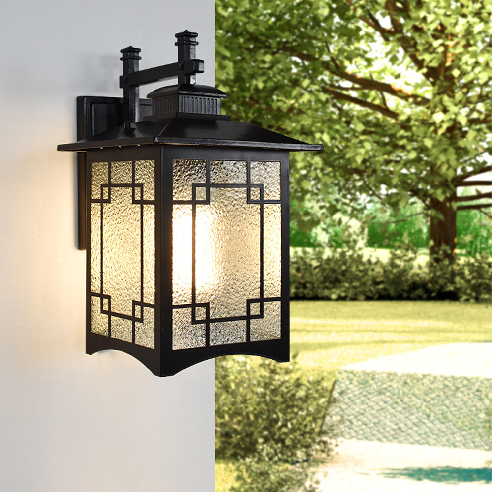 LED Wall Lamp Outdoor IP65 Porch Sconce Lighting Fixtures Black E27 Bulb for Garage House courtyard