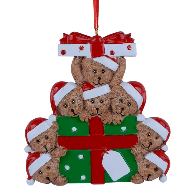 wholesale resin bear family of 8 christmas ornament personalized gift write your own name for holiday