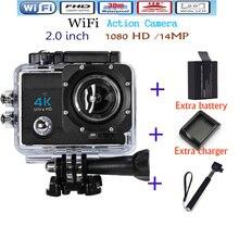 4 K ultra HD Wifi Cámara de la Acción Del Deporte de La Cámara 2.0 Pulgadas 16MP 1080 P 170 Lente Gran Angular 4 k HD Impermeable Sport Cam Envío gratis