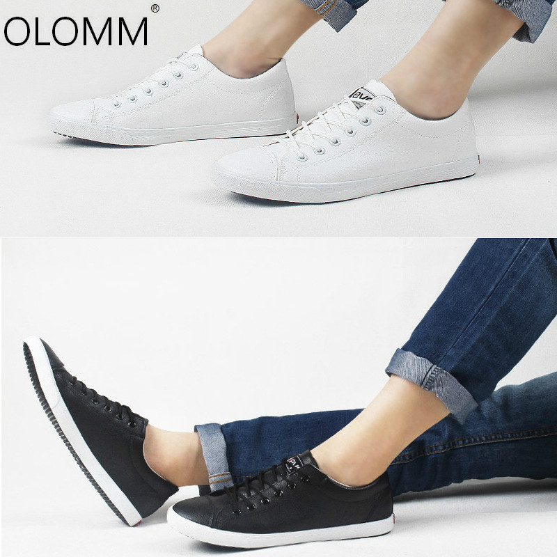 Spring and Autumn Shoes Mens Board Low Cut Leather Shoes with Sports Shoes White Flat Bottom Loafers Zapatos De Hombre