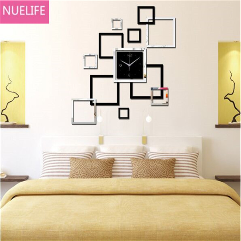 3D square digital pattern mirror clock wall sticker living room office TV sofa backgroun ...