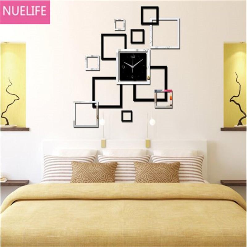 3D τετράγωνο ψηφιακό μοτίβο καθρέφτη ρολόι τοίχο αυτοκόλλητο ... 8dcc74e6ffb