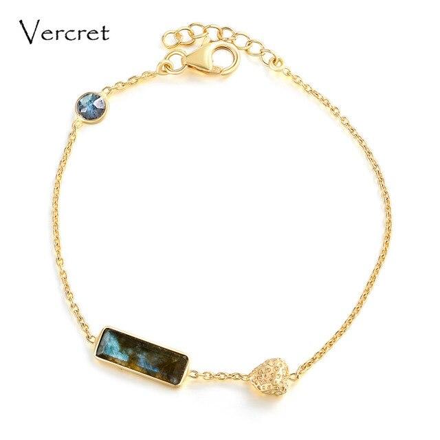 Vercret romantic heart design 18k gold 925 silver bracelets labradorite bracelet women jewelry for gifts sp