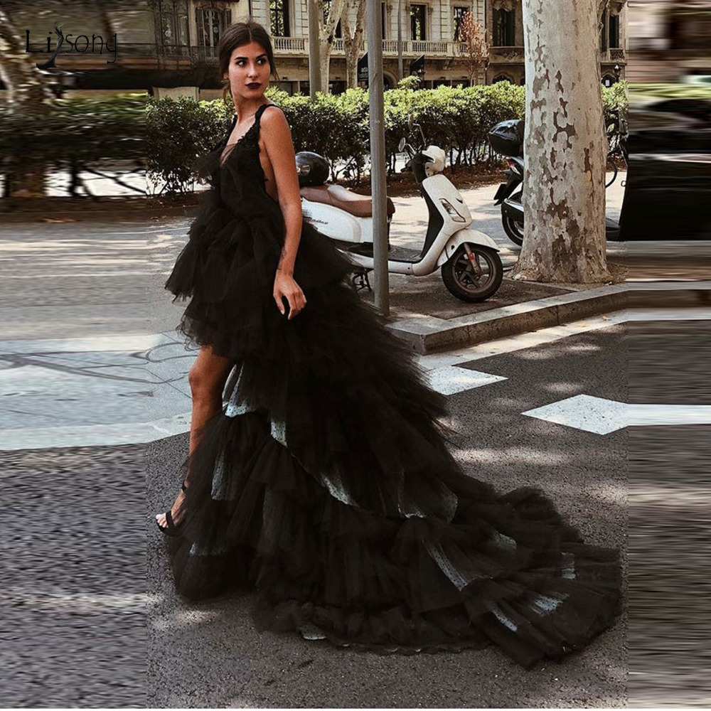 Fashion Sexy Black Tulle Hight Low   Prom     Dresses   Backless 2019 Tiered Ruffles   Prom   Gowns Deep V-neck Photoshoot Formal   Dress