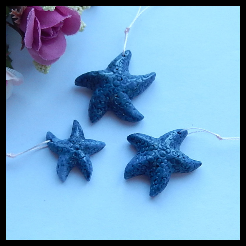 SALE!3pcs Carved blue coral starfish Pendant Bead,Charms