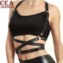 CEA.HARNESS Popular Stud Punk Goth Leather Harness Body Bondage Belt Cage Sculpting Waist Chest Belts Slim Top