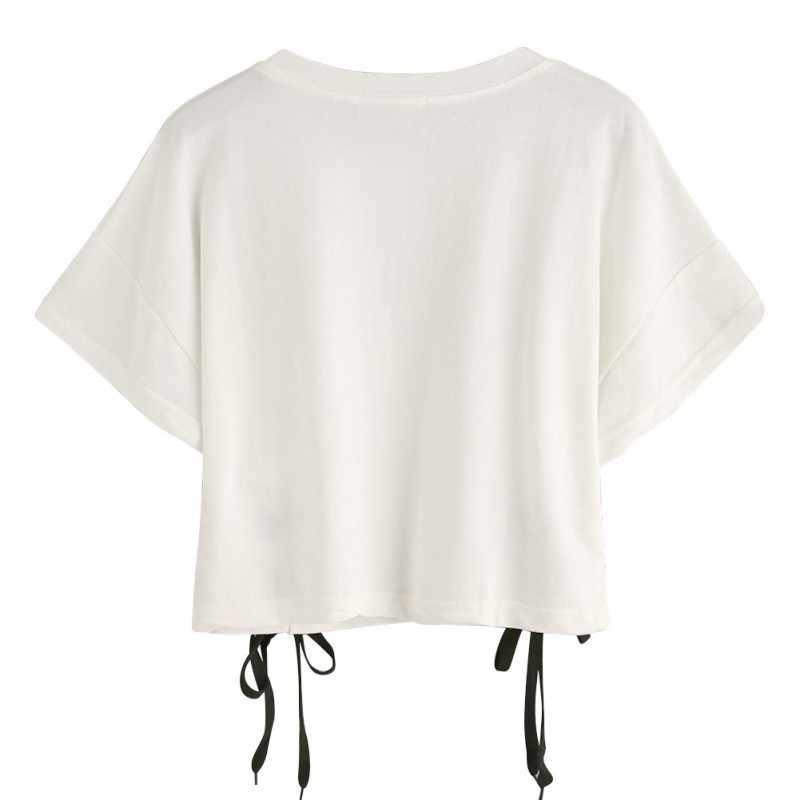 2019 летний Модный укороченный топ с открытыми плечами, хлопковая футболка с короткими рукавами и круглым вырезом, женская короткая футболка с надписью белый