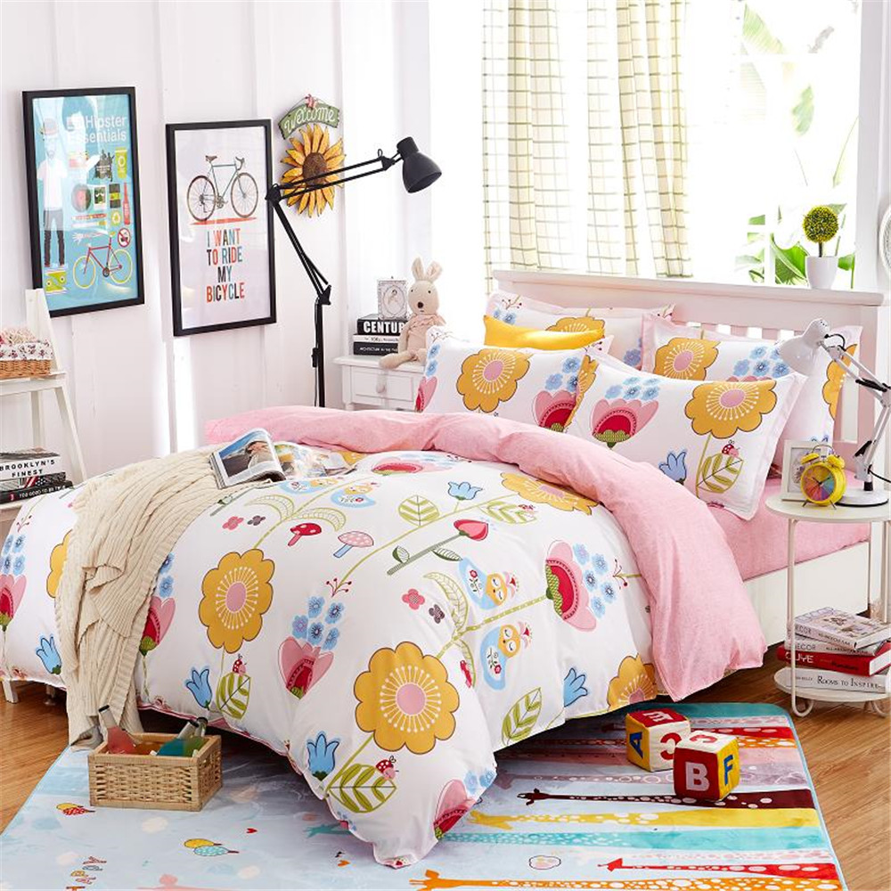 Colorful flower bedding - Kids Cartoon Bedding Sets White Pink Printed Colorful Flower Quilt Duvet Cover Pillowcase Bed Sheet Twin
