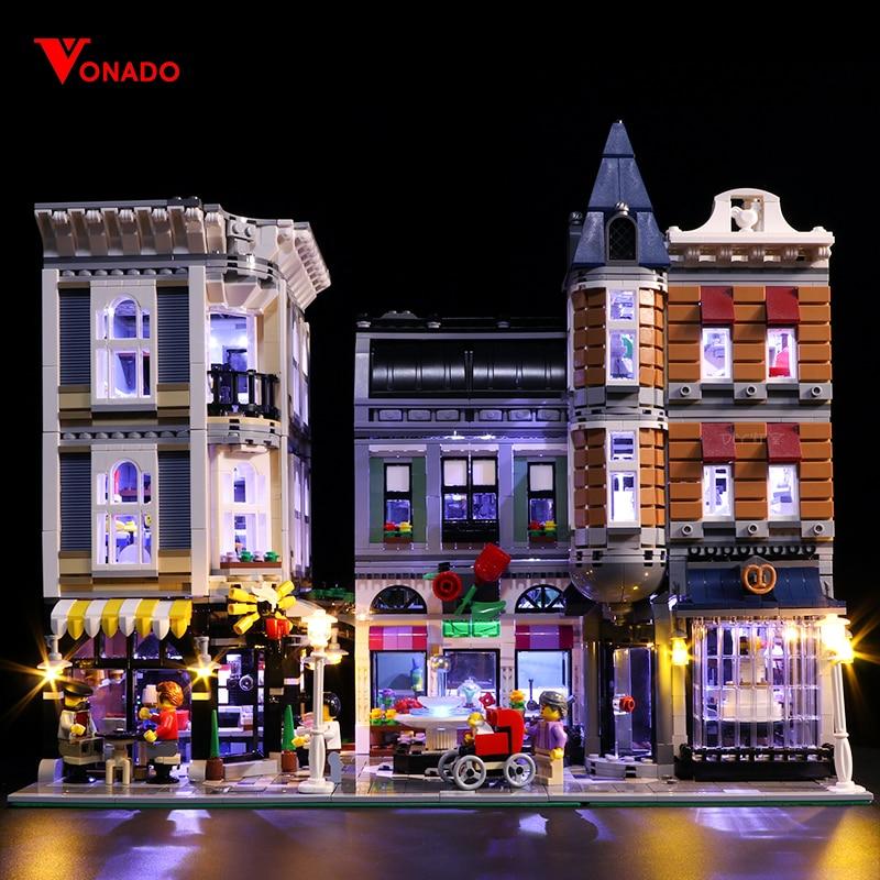 Oyuncaklar ve Hobi Ürünleri'ten Bloklar'de Led ışık Seti Lego 10255 Yapı Taşları Creator Şehir Sokak Montaj Meydanı Oyuncaklar Uyumlu 15019 (ışık ile Pil kutusu)'da  Grup 1