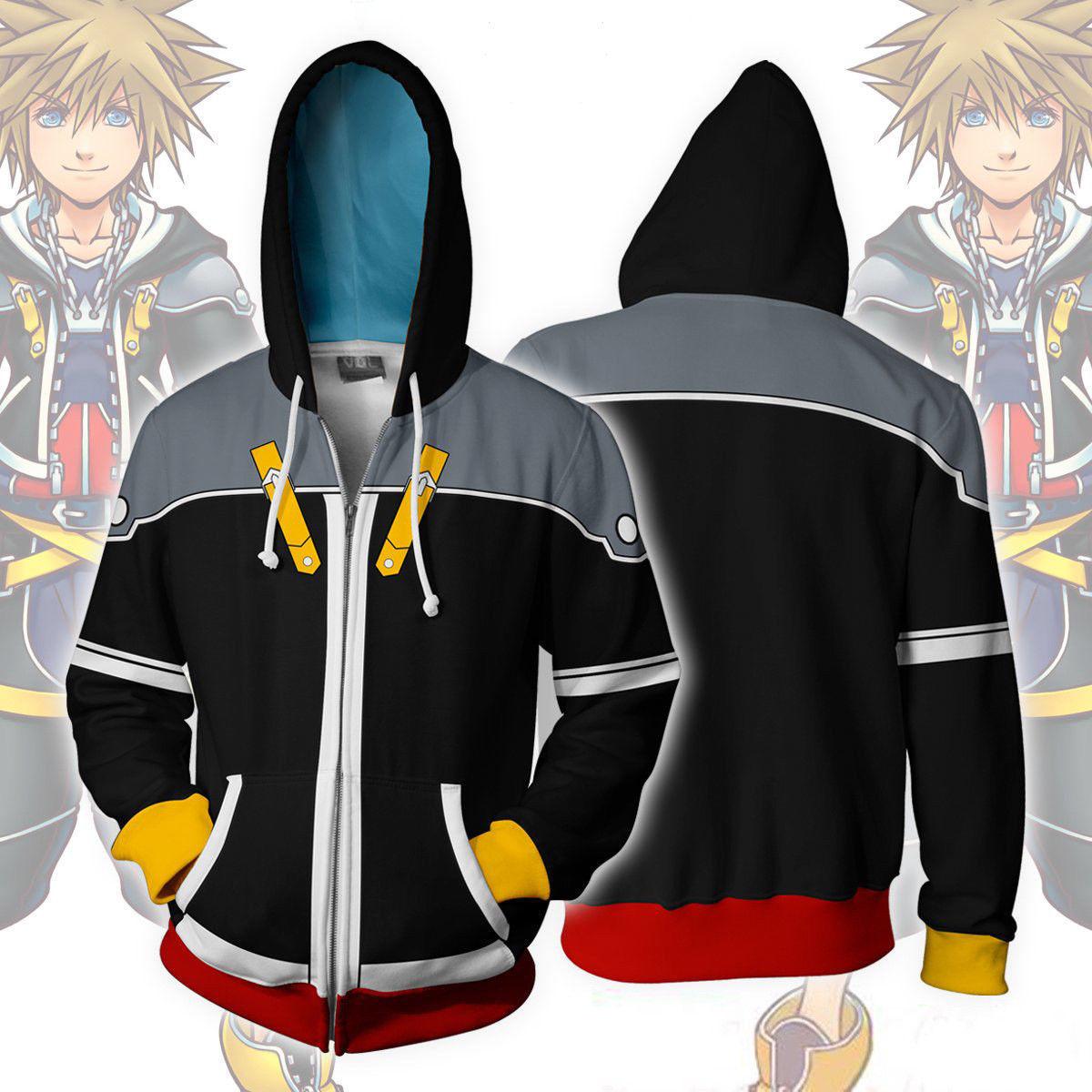 Anime Kingdom Hearts 2 Sora 3D Zipper Hoodie Jacket Coat Uniform Cosplay Costume Sweatshirt Outfit Cardigan Hooded plus size New