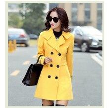 2018 New Autumn Winter Plus Size Women Coat Elegant Double Breasted Coat Tops Turn-Down Collar Fashion Blends Casual Long Coat цена в Москве и Питере