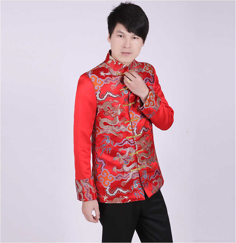d0841bc2d Mens Traditional Clothing Groom Wedding Qipao Chinese Ancient Costume Red  Tunic Tang Suit Gown Dress Cotton