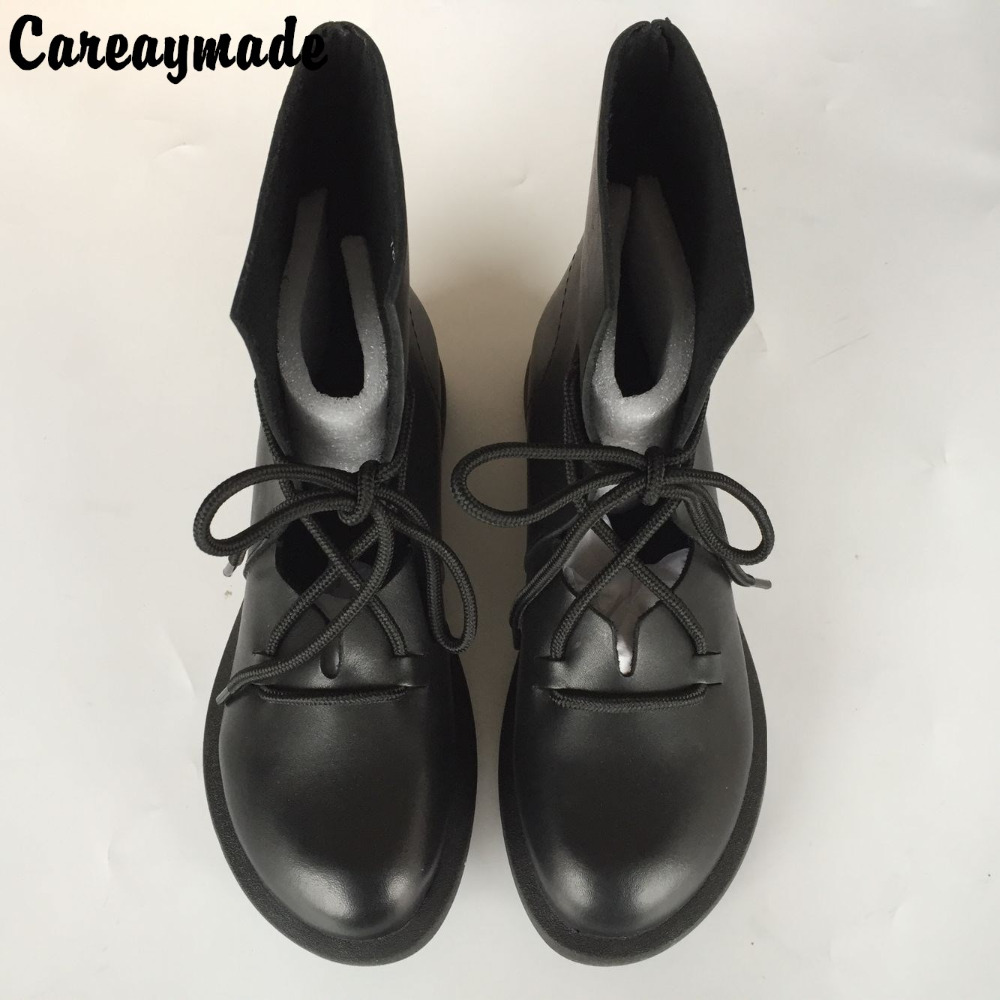Careaymade New hand made half ankle short natrual real genuine leather women motorcycle boots women literary