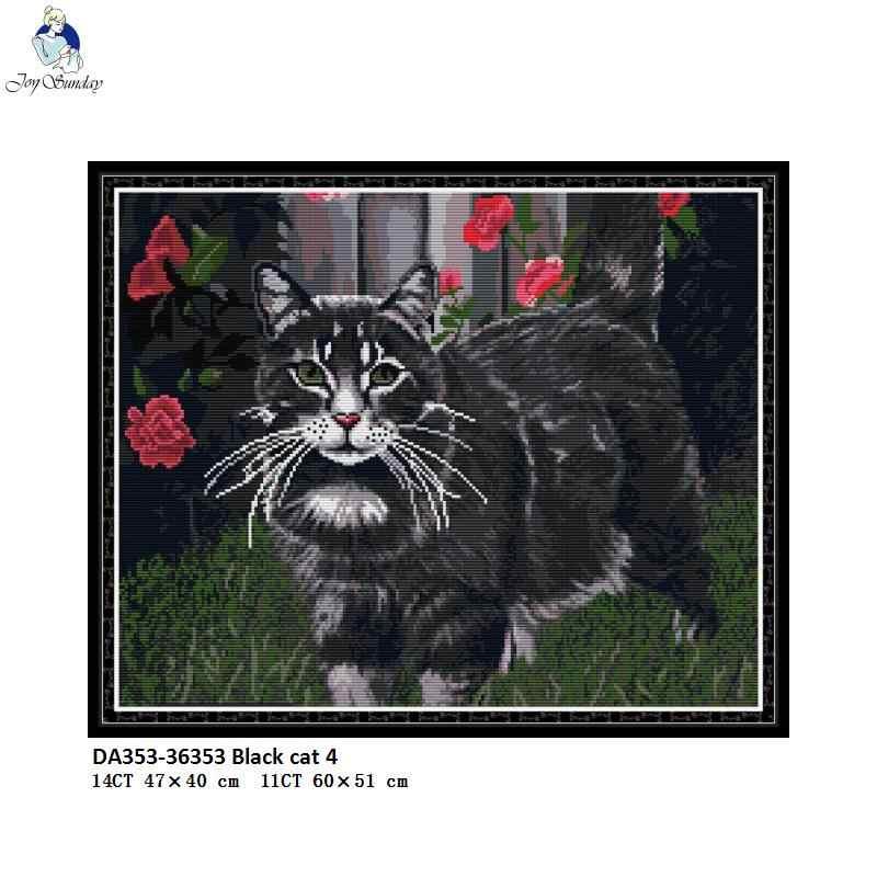 黒犬と猫シリーズアイーダ布クロスステッチキットカウントプリントキャンバスステッチ dmc 木綿糸刺繍針仕事