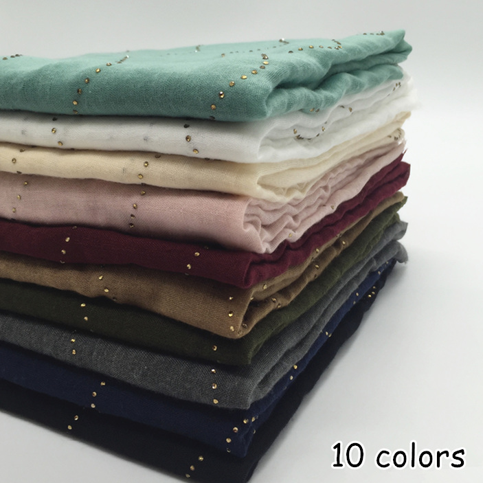 10 colors women plain maxi scarf rhinestone scarves glitter wavy lines shawls shimmer muslim hijab headbands foulard pashmina