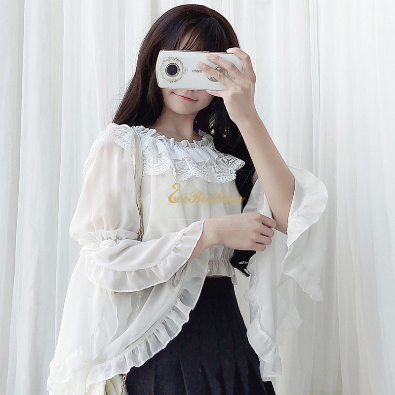 Lady Girl Lolita Shirt Lace Ruffle Flare Sleeve Blouse Tops Gothic Cosplay Sweet