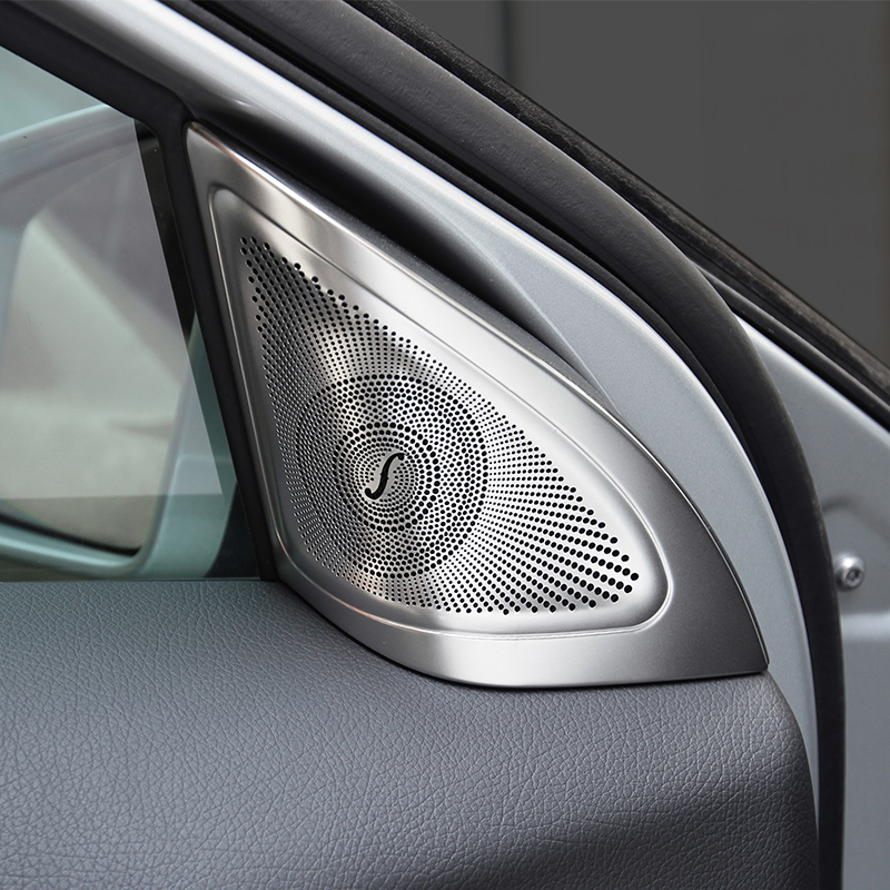 Car-styling Stainless steel Cover Interior Door Audio Speaker decoration decals For Merc ...