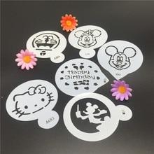 6 stks Cartoon Kat Muis Cake Koffie DIY Decoratie Mold Fondant Patroon Afdrukken Stencils gelukkige Verjaardag 7.5 cm