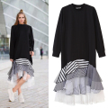 [CHICEVER] 2017 Spring Solid Long Sleeve Geometric Patchwork Hem Irregular D Ruffles Loose Ladies Party Dresses Women New