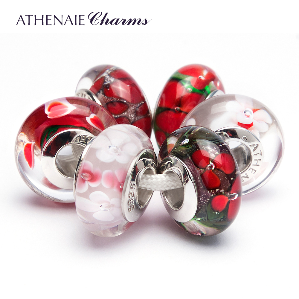 ATHENAIE 925 Sterling Silver Core Red Flowers Charm Beads Kits Fit For European Bracelets and Necklaces new s925 sterling silver bell red string rope bracelets lucky beads red thread bracelets