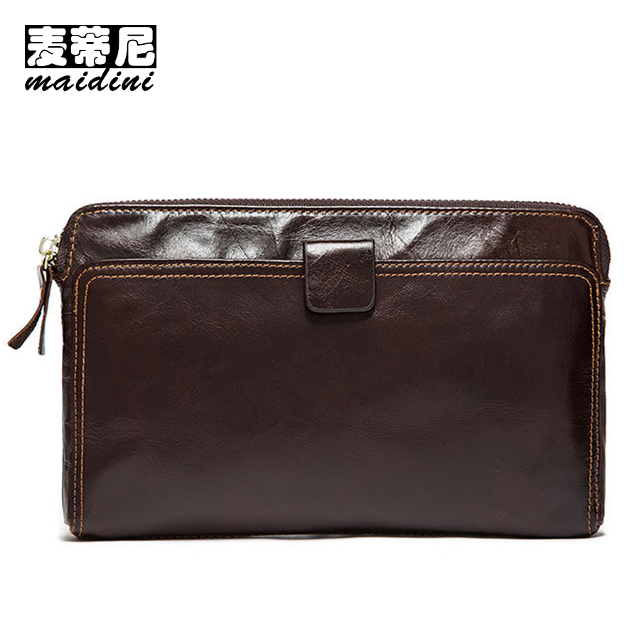 MAIDINI Brand Genuine Leather Wallets Business Male Wallet Checkbook Cowhide Clutch Bag Men Credit Card Organizer Wallet For Man fashion new men wallets baellerry brand male zipper purses long design men clutch bag cowhide card holder wallet for business