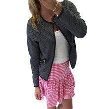 Durable Fashion Women Long Sleeve Lattice Tartan Cardigan Top Coat Jacket Outwear Blouse bomber jacket