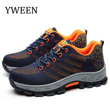 YWEEN Steel Toe Men's Safety Work Boots Fashion breathable Labor Insurance Puncture Proof Shoes Lace up Men Casual Shoes недорого