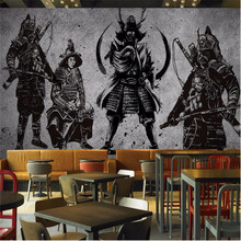 Custom wallpaper large-scale retro hand-painted Japanese style samurai cement wall decorative painting waterproof material