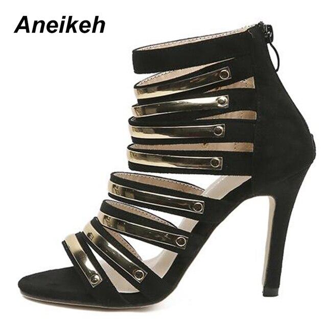 03526495ab1 Aneikeh 2018 Women Gladiator High Heels Peep Toe Stillettos Women Pumps  Sexy Ladies Party Bling Narrow