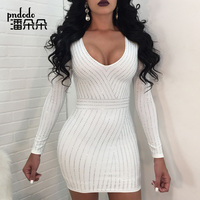 Pndodo Elegant Women Pearl Beading Dress Long Sleeve Bodycon Slim Pearl Embellished Short Mini Dress Sexy Night Party Clubwear