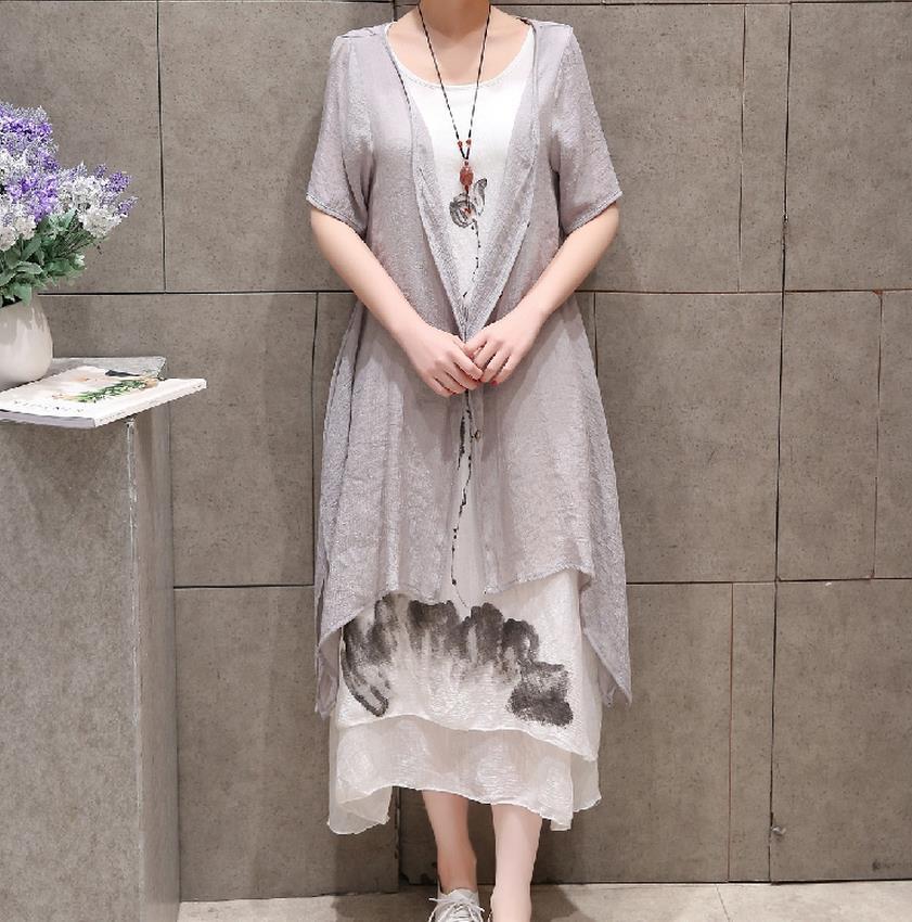 d893b5d9ff1c8 2 Parça Yeni 2017 Yaz Çin Mürekkep Baskı Kadın Artı boyutu Elbise Pamuk  Keten A-line Casual O-Boyun Vintage Gri Beyaz elbiseler