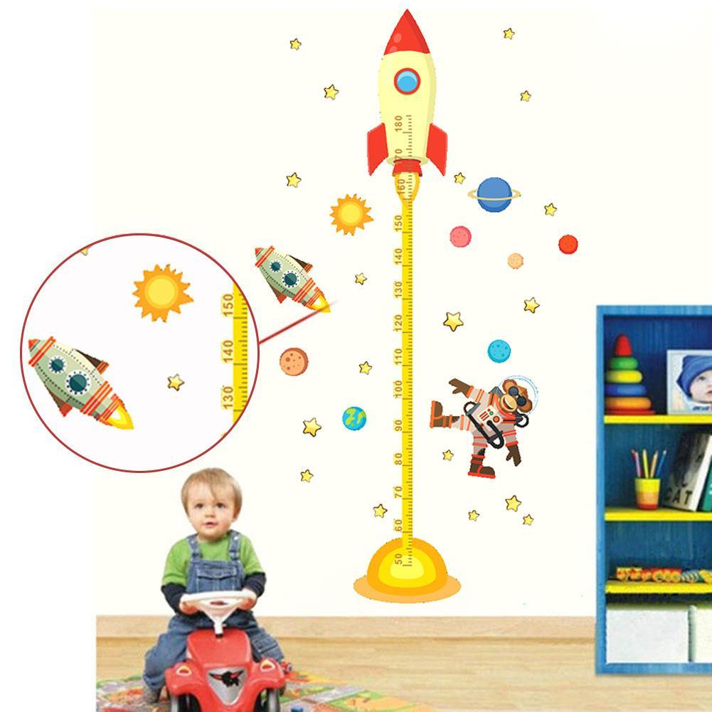 1PC DIY Outer Space Planet Monkey Pilot Rocket Decal Height Measure Wall Sticker For Kids Room Baby Nursery Growth Chart Gifts